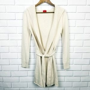 Mossimo Long Cream Hooded Open Knit Cardigan  XS